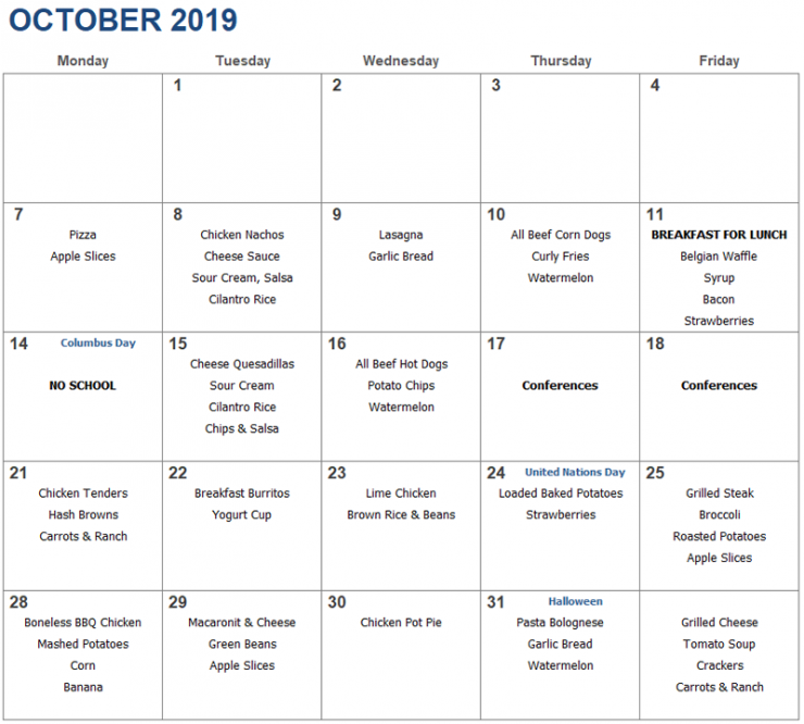 hot lunch menu for October 2019